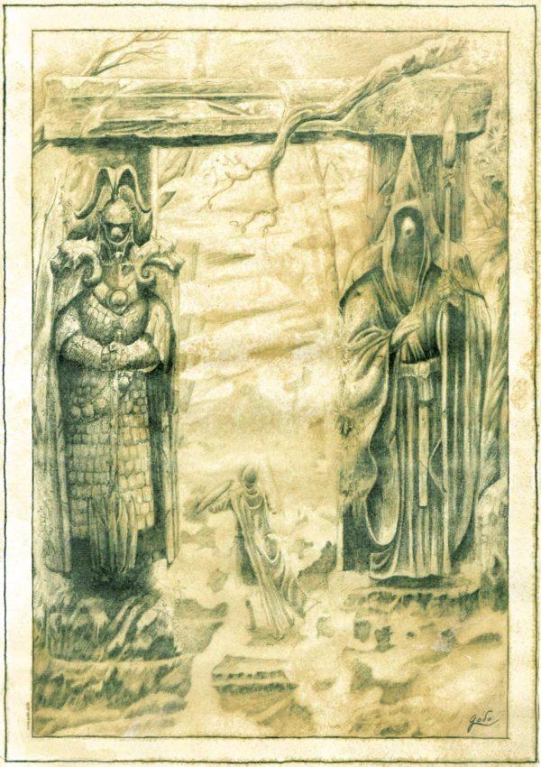 parchemin de féerie représentant le portail orthanien, statue de deux êtres à tête d'ours, en armure. Un homme passe à travers. êtres