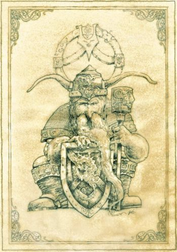 parchemin de féerie, illustration d'un nain guerrier