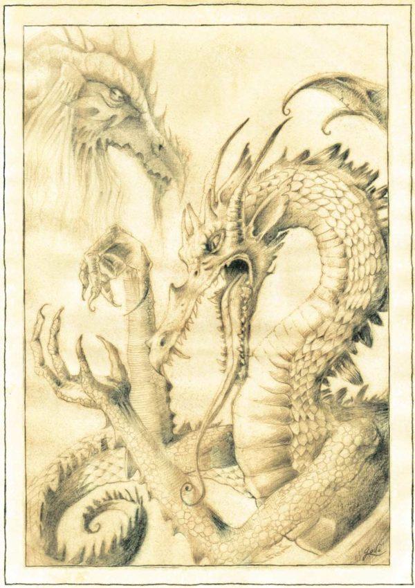 parchemin de féerie, représentant deux dragons. L'un sage, les yeux fermés, l'autre la gueule ouverte