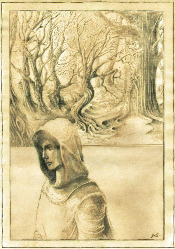 parchemin de féerie représentant une elfe marchant dans la forêt. Illustration godo