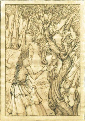 illustration représentant une dame aux airs de fée, se faisant offrir un cadeau par des gnomes, perchés dans un arbre.