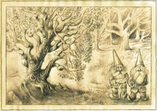 illustration de deux gnomes, només Hic et Nunc et d'un vieil arbre tortueux