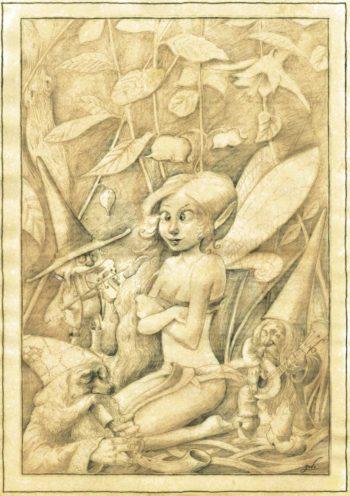 illustration représentant une fée qui louche, entourée de gnomes jouant de la musique.