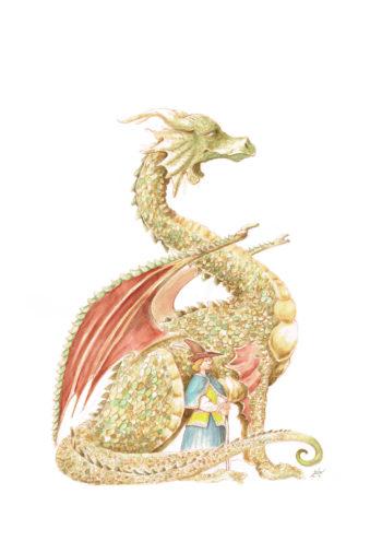 Illustration originale du dragon d'orée. réalisé aux encres aquarelle et au crayon.