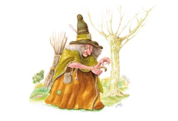 illustration d'une vieille sorcière portant un fagot de bois. illustration godo