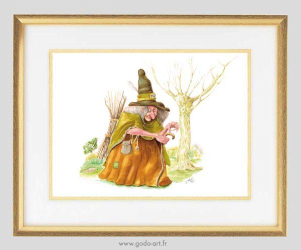 illustration d'un sorcière portant un fagot de bois. simulation encadrement. Illustration godo