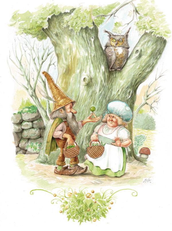 illustration originale représentant un couple de lutin et un hibou grand duc