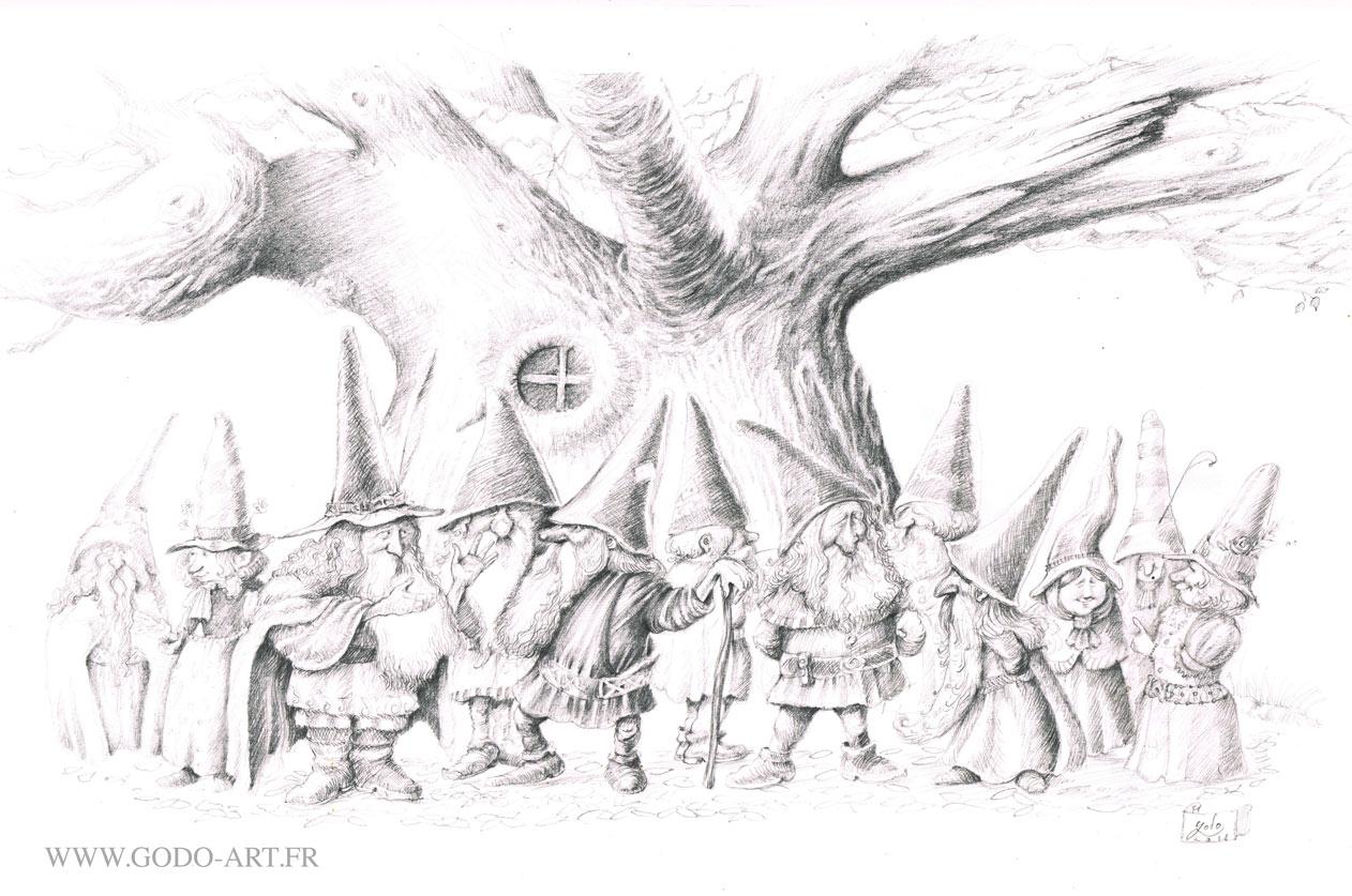 dessin préparatoire d'une illustration  représentant une assemblée de gnomes et gnomides devant un grand et vieil arbre majestueux. illustration godo