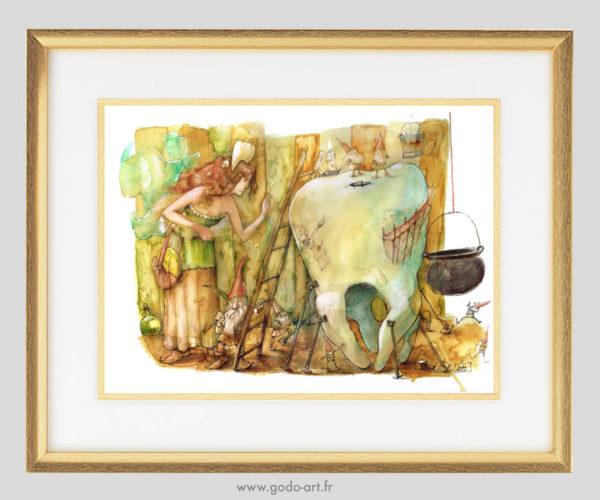 illustration de la fée des dents, dessin au crayon et aux encres aquarelle