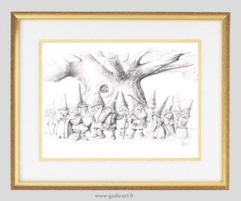 illustration au crayon représentant une assemblée de gnomes devant un vieil arbre. illustration godo