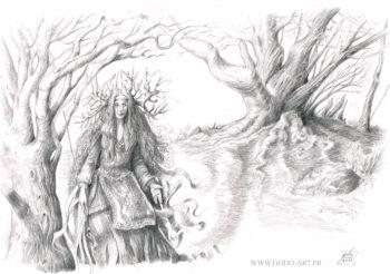 illustration représentant une enchanteresse ou chamane, devant un arbre maître