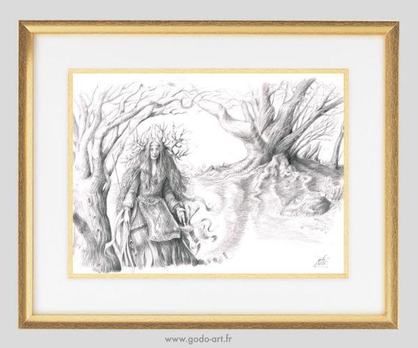 illustration d'une enchanteresse devant un arbre maîtr. réalisation au crayon graphite. illustration godoe