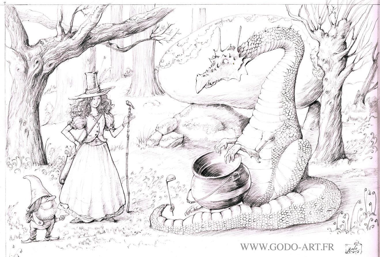 dessin préparatoire d'une illustration représentant une magicienne surprenant un dragon ayant vidé le contenu de son chaudron. Dessin au graphite. Illustration godo