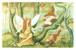 illustration représentant une fée et deux gnomes assis sur un arbre tortueux. Réalisation aux encres aquarelle et dessin au graphite. Illustration godo