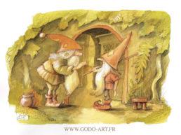 illustration représentant deux gnomes discuttant devant l'entrée de leur habitat . réalisation aux encres aquarelle et au crayon. illustration godo