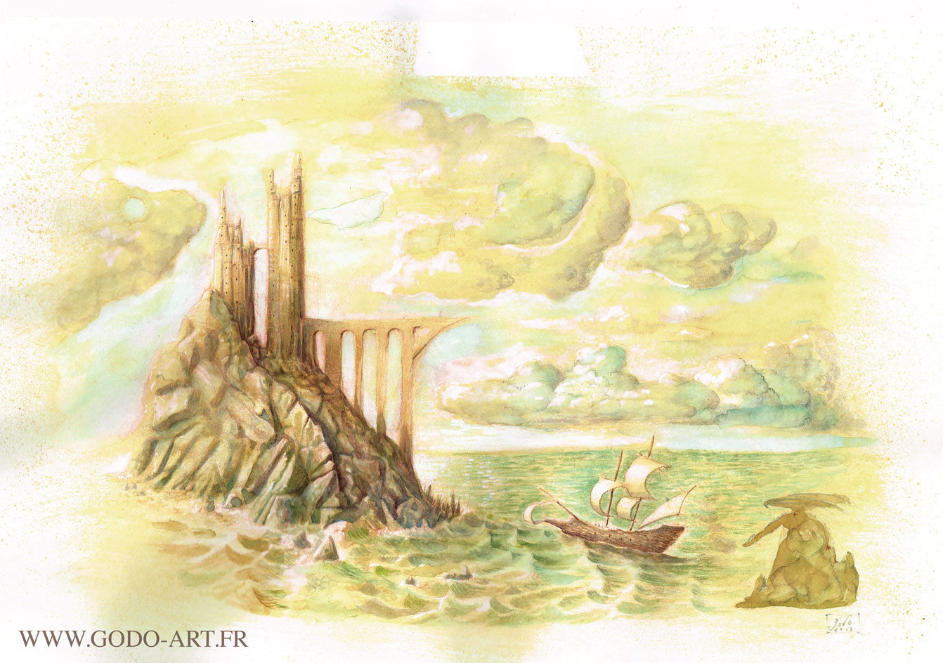 illustration d'une ile aux dragons sur laquelle débarque un gallion. ILlustration réalisée aux encres aquarelle et dessin au crayon. Illustration godo