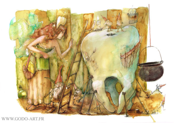 illustration originale représentant la fée des dents et son équipe de gnomes, illustration godo
