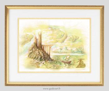 illustration de l'ile au dragons, entourée d'une mer déchainée sur laquelle navigue un galion