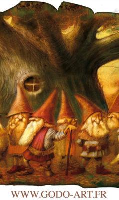 illustration représentant un groupe de gnomes et gnomides discuttant autour d'un vieil arbre