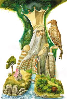 illustration représentant un roi recevant un message d'un aigle . au premier plan une maison et une forêt. illustration aux encres aquarelle par Godo