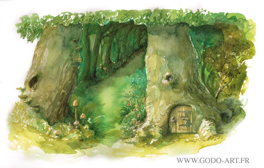 illustration d'une lisière de clairière féerique. illustration godo aux encres aquarelle