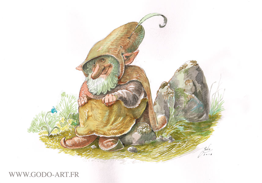 illustration d'un gnome espiègle assis sur un rocher . Illustration Godo aux encres aquarelle