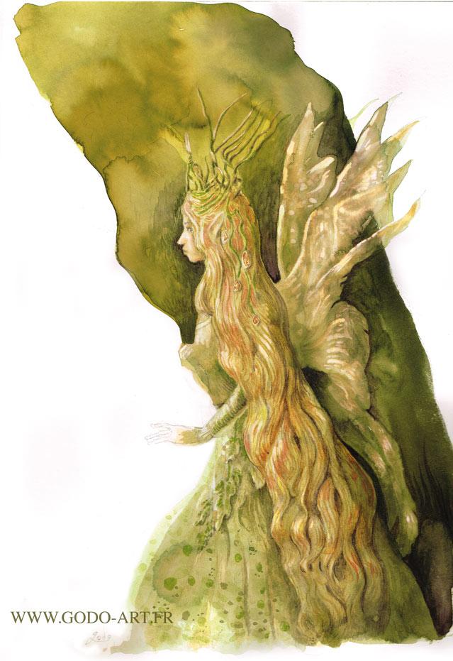 illustration aux encres représentant une fée verte . illustration Godo