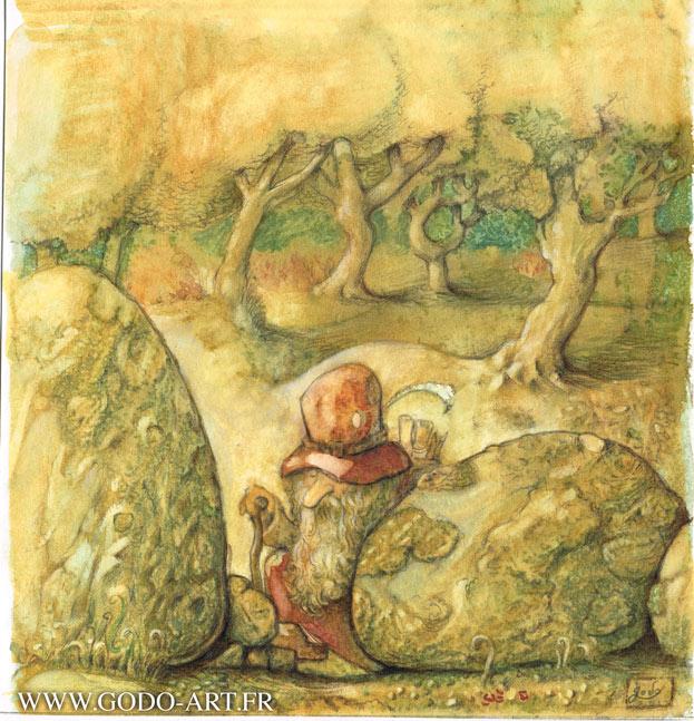 illustration d'un gnome passant entre deux rochers. illustration godo réalisée à l'aquarelle