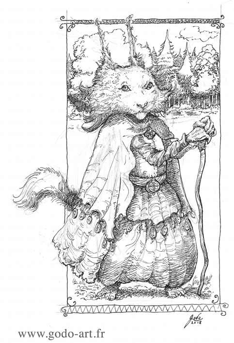 illustration représentant un chat magicien dessin godo art