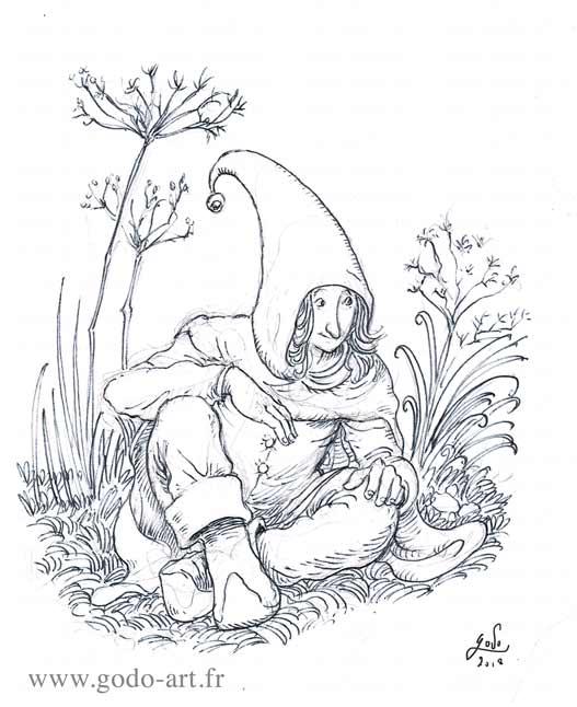 illustration représentant un elf assis au milieu de fleurs