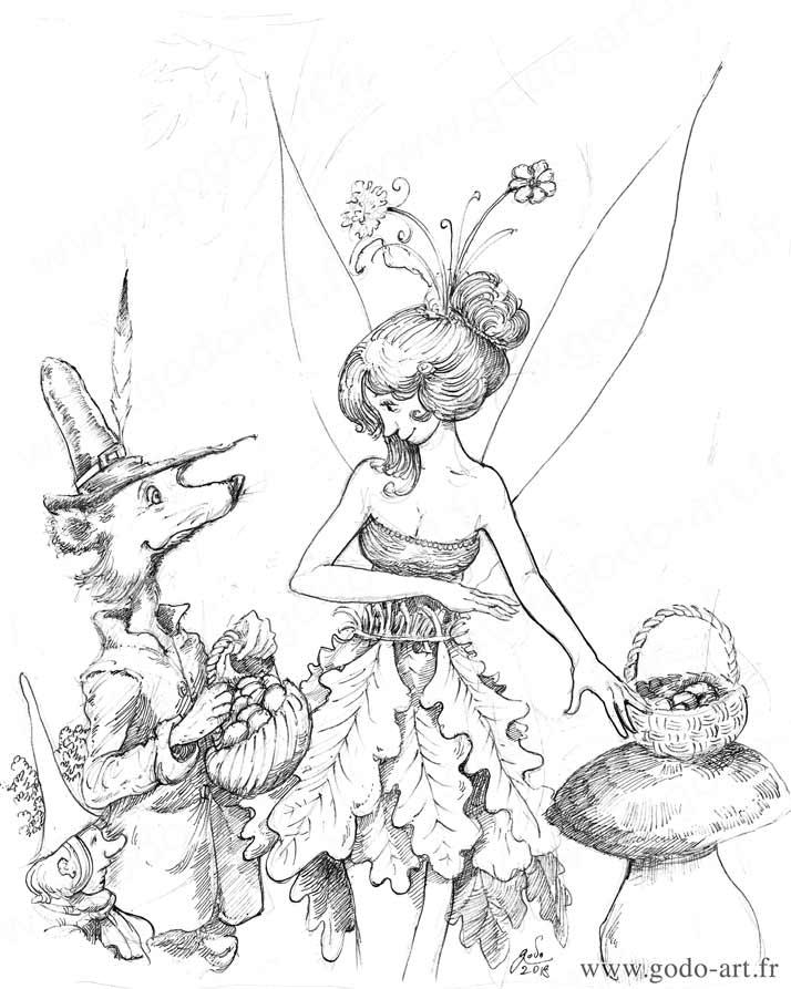 illustration représentant une fée un gnome et une belette dessin godo art