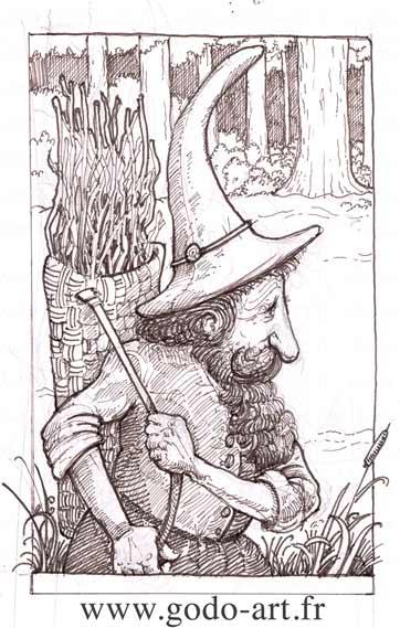illustration représentant un gnome barbuu portant un fagot de bois dessin godo art
