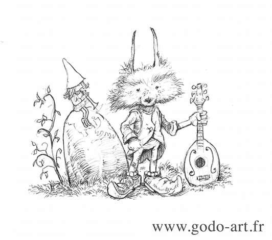 illustration représentant un petit personage a tête de renard dessin godo art