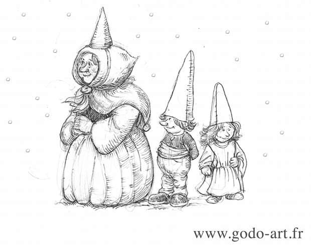 illustration représentant une gnomide et ses petits sous la neige dessin illustration godo art