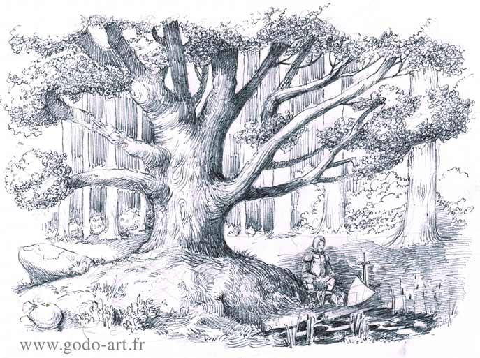 illustration représentant un vieil arbre sous lequel est assis un chevalier dessin godo art
