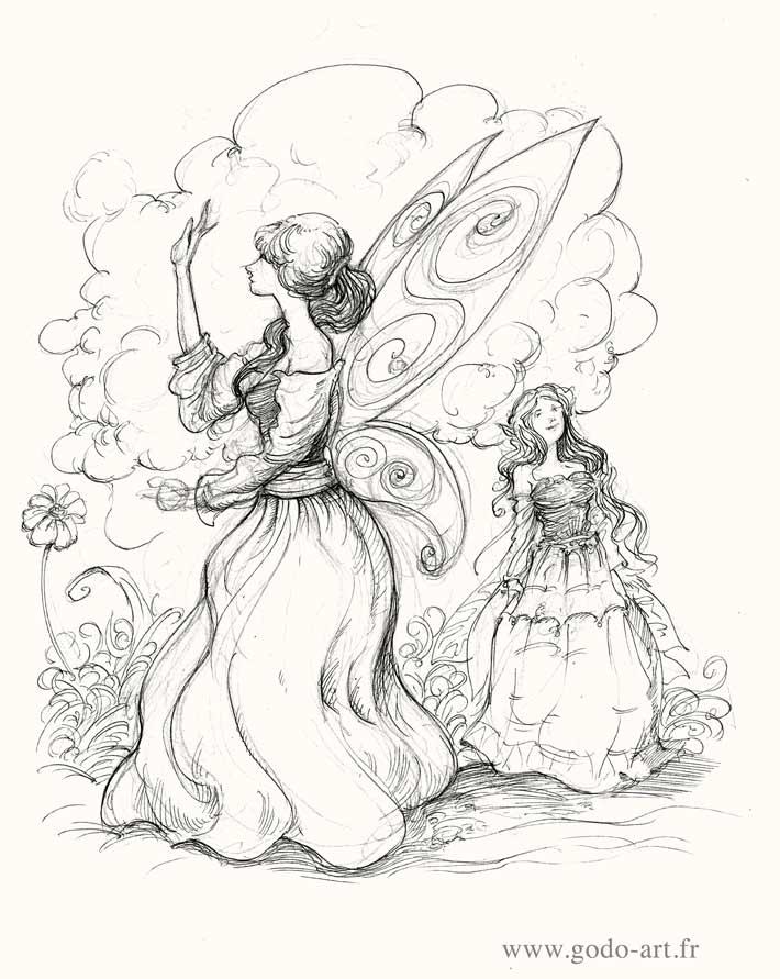 illustration représentant deux fées s'amusant dessin godo art