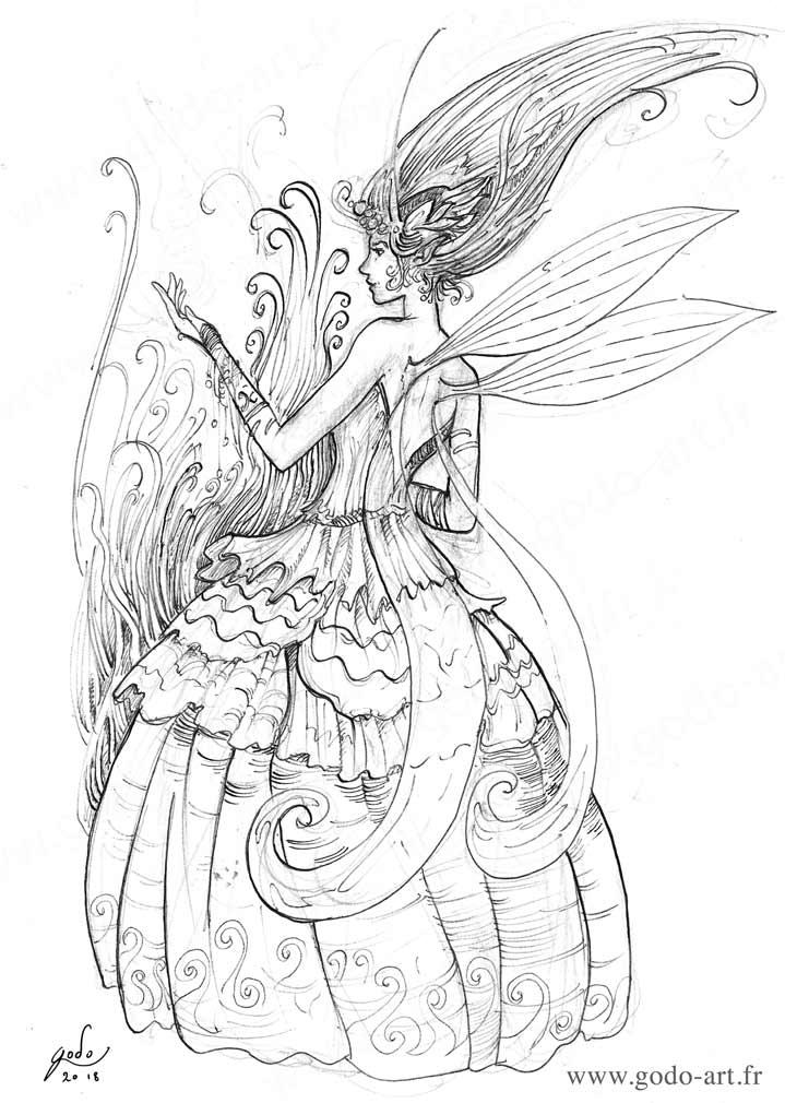 illustration représetant une fée en robe style victorien dessin godo art