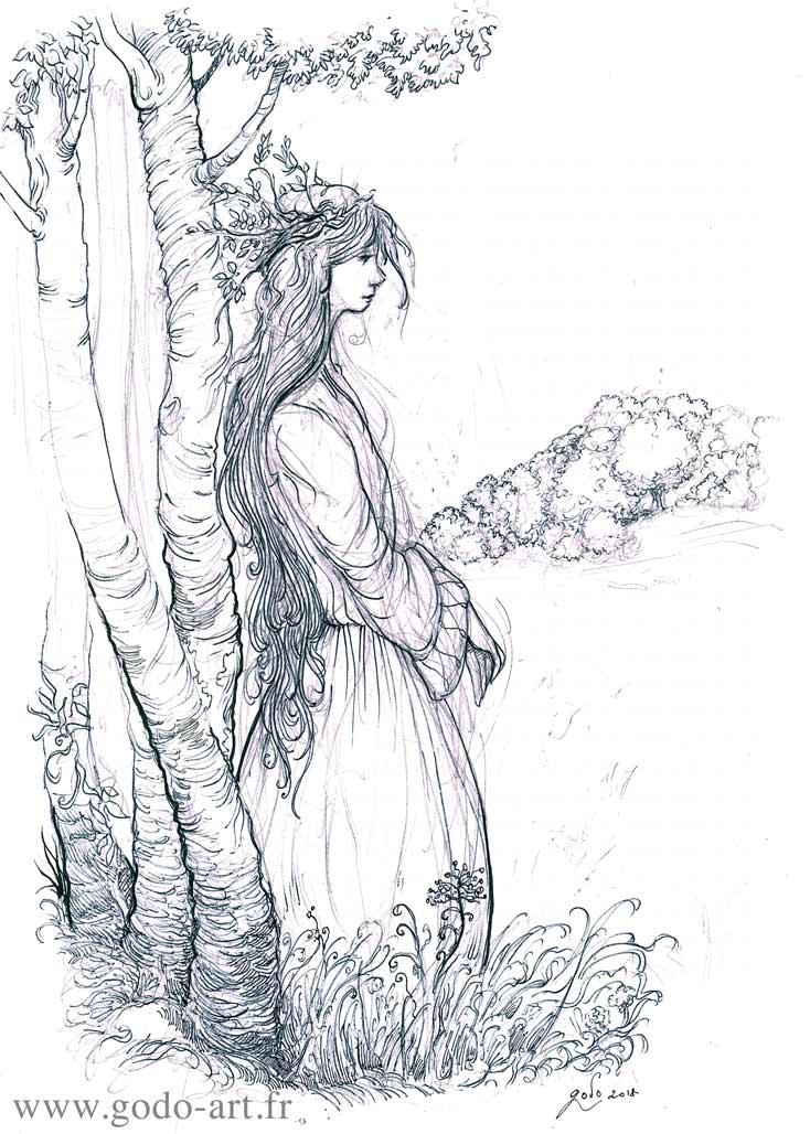 illustration représentant une fée à la lisiere de la foret dessin godo art