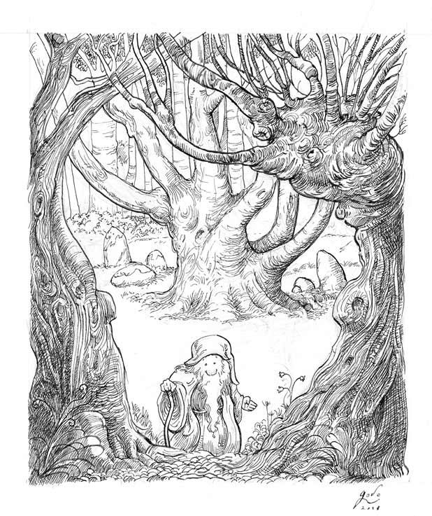 illustration representant un gnome entre deux arbres dessin godo art
