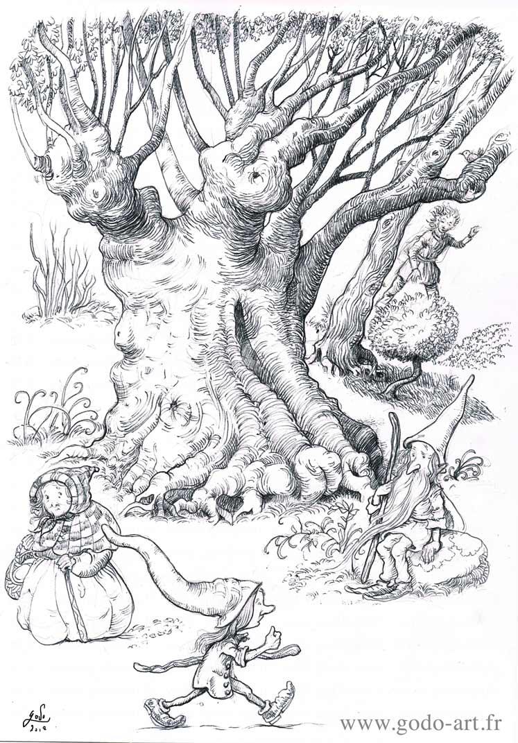 illustration représentan trois gnomes et un vieil arbre dessin godo art