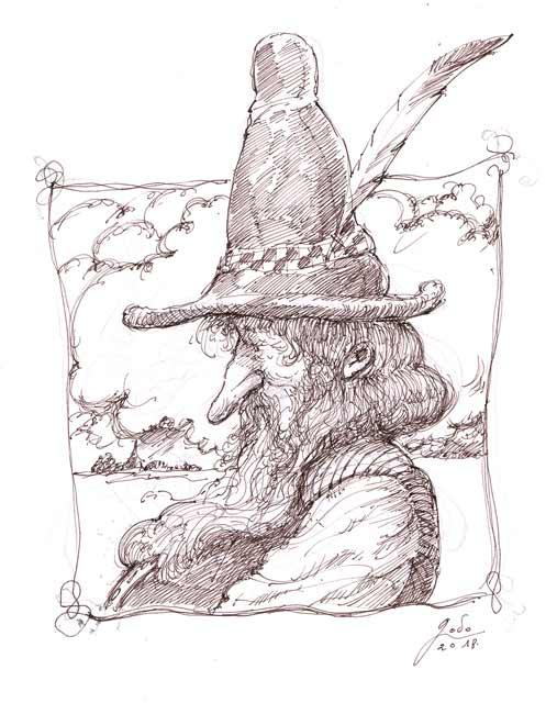 illustration représentant le portrait d'un gnome dessin godo art