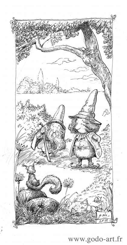illustration représentant deux lutins et un écureuil dans la forêt dessin godo art