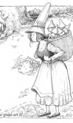illustration représentant une gnomette portant ses enfants dessin godo art