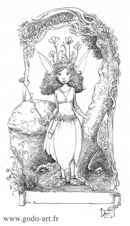 illustration représentant une petite fée dessin godo art