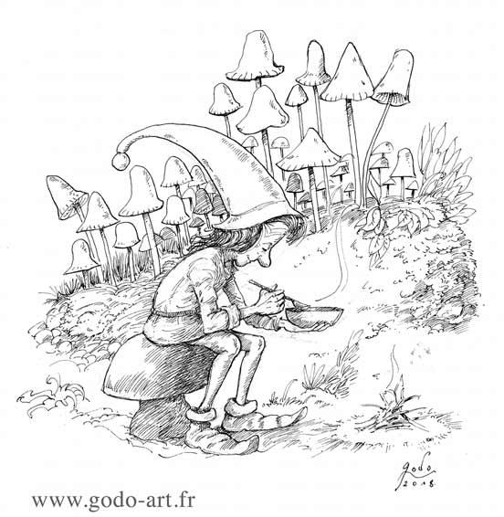 illustration représentant un lutin mangeau sa soupe assis sur une souche entouré de champignons