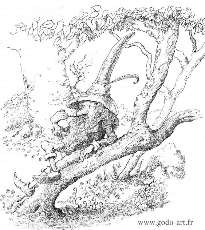 illustration représentant un gnome se reposant sur un arbre dessin godo art