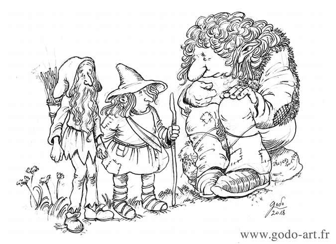 illustration représentant deux gnomes et un troll discuttant dessin godo art