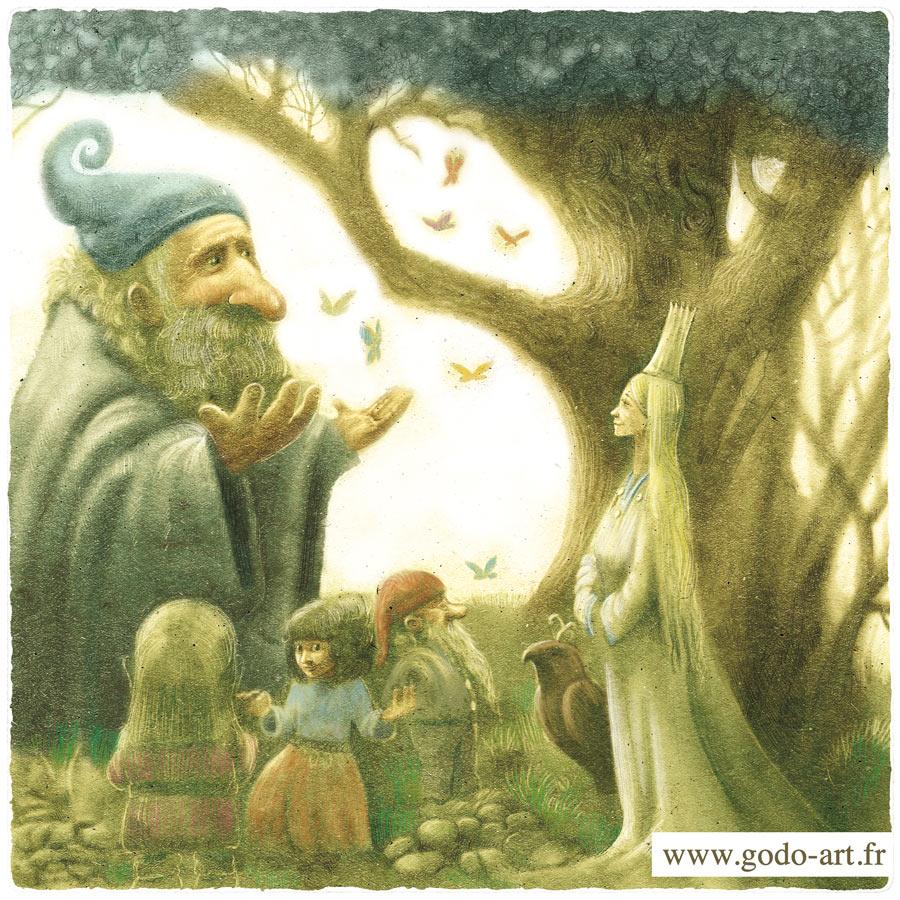 illustration d'un mage, de gnome et d'une reine fée godo fantasy