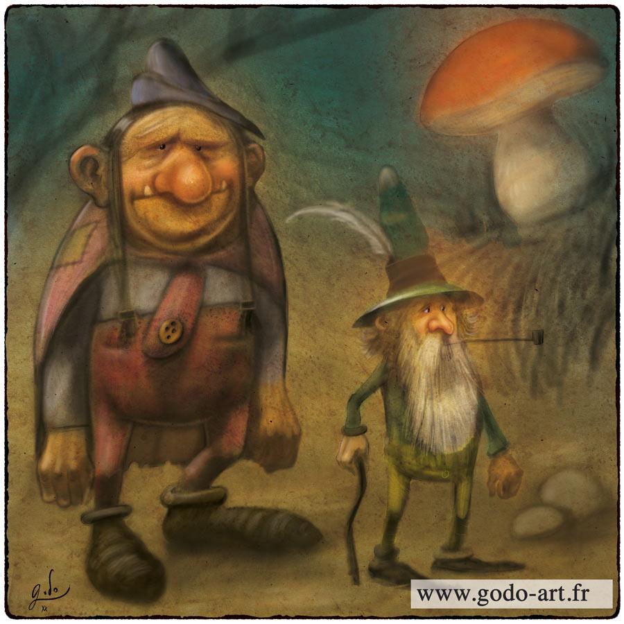 illustration troll et lutin