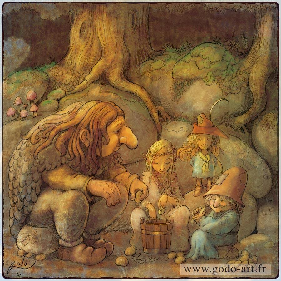 illustration troll, lutins et elfes épluchant des patates
